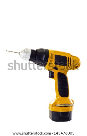 hand holding battery drill - stock photo