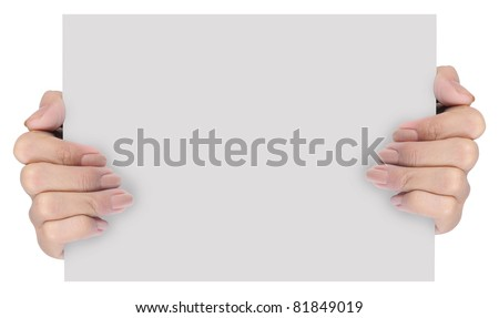 hand holding blank paper isolated on white background 5 - stock photo