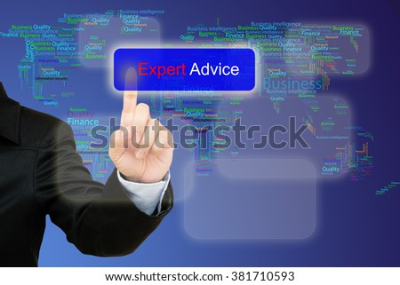 hand pressing  expert advice button on interface with world map  background. - stock photo