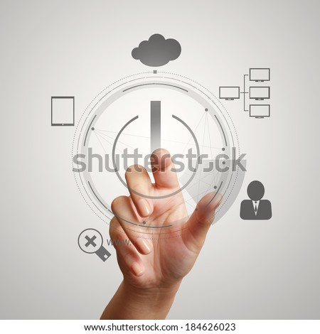 hand push start Cloud Computing diagram on the new computer interface as concept - stock photo
