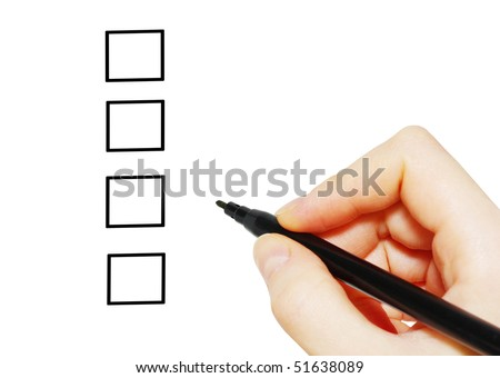 Hand with marker and check boxes isolated on white - stock photo