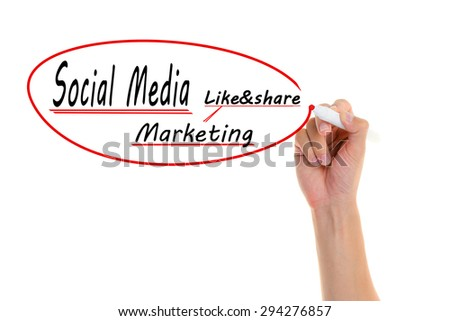 Hand writing Social media Marketing on visual screen.  - stock photo