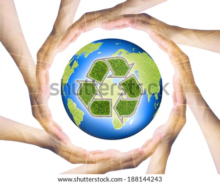 hands making a circle  Surrounding the recycle Earth  - stock photo