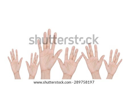 5 Hands on white background - stock photo