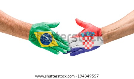 Handshake Brazil and Croatia - stock photo