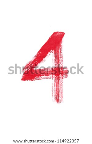 4-Handwritten Watercolor number isolated on white background - stock photo