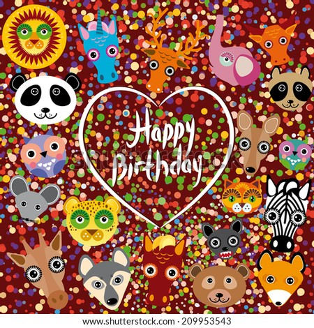 Happy birthday. funny cute animal face on a brown background. Heart. Colored confetti.  - stock photo