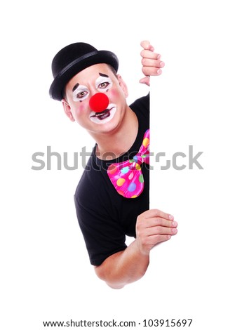 Happy clown holding the blank board on white background - stock photo