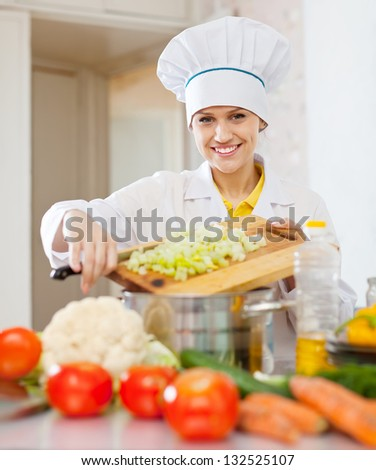 Happy  cook woman cooking vegetarian dinner  at commercial kitchen - stock photo