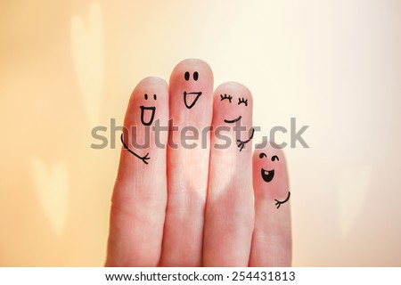 Happy finger family group with heart shaped ray of light. Instagram effect. - stock photo