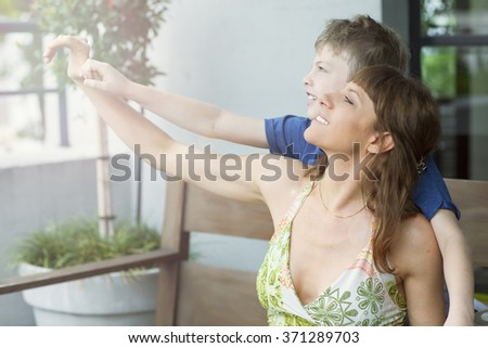 happy mother and  adorable son playing  - stock photo