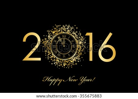 2016 Happy New Year background with gold clock - stock photo