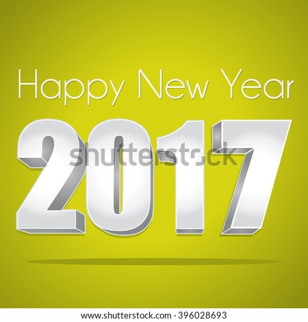 2017 Happy New Year. Best wishes. Green and silver greeting card. - stock photo