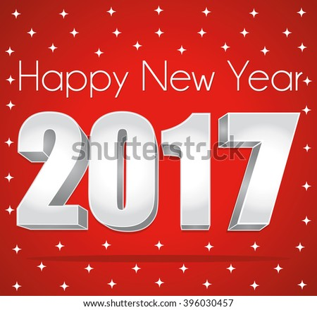 2017 Happy New Year. Best wishes. Red and silver starry greeting card. - stock photo