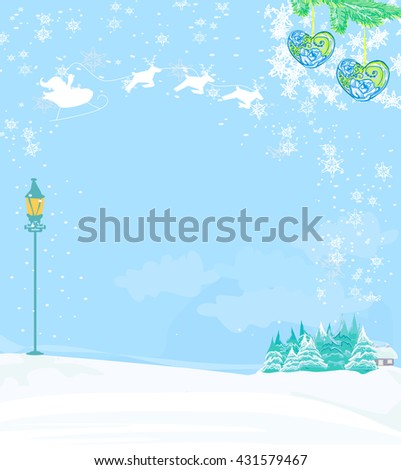 Happy New year card with Santa and winter landscape  - stock photo