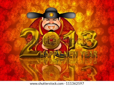 2013 Happy New Year Chinese Money Prosperity God Holding Round Gold Dragon Coin Illustration - stock photo