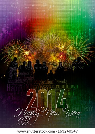2014 Happy New Year cover poster concept - stock photo
