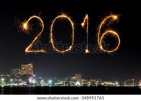 2016 Happy New Year Fireworks celebrating over Pattaya beach at night, Thailand - stock photo