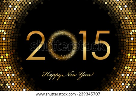 2015 Happy New Year glowing background - stock photo