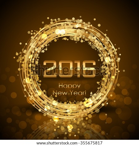 2016 Happy New Year glowing brown background - stock photo