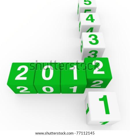 2011 2012 happy new year green 3d cube - stock photo