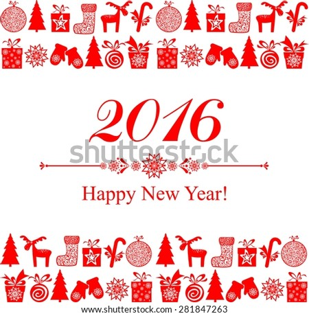 2016 Happy New Year greeting card isolated on white background. Celebration background with Christmas tree, gift boxes and place for your text. Illustration - stock photo