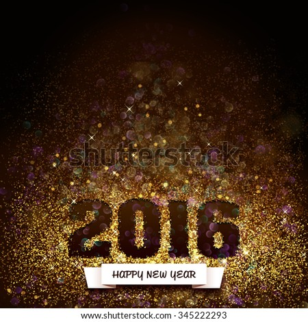 2016, happy new year in glitter, greeting card - stock photo