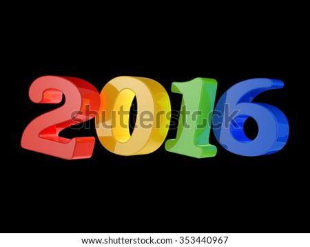 2016 happy new year isolated on black background - stock photo