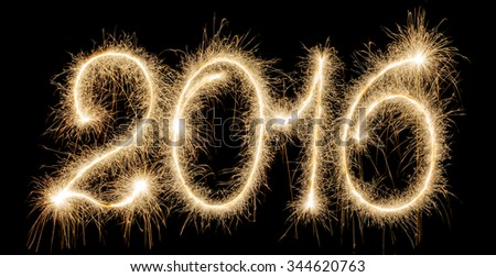 Happy New Year 2016 made a sparkler - stock photo