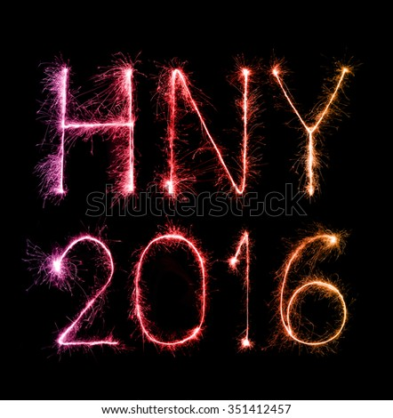 2016 Happy New Year made of sparkles firework at night background - stock photo