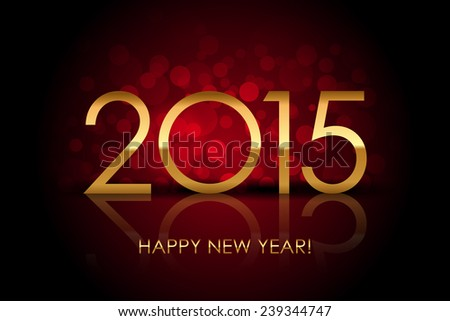 2015 - Happy New Year red blurred background - stock photo