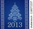 2013 Happy New Year, White Christmas Tree and Borders of SnowFlakes on Blue Background, Isolated Raster Clip-Art Illustration - stock photo
