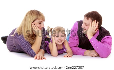 Happy parents admire its charming little daughter- isolated on white background - stock photo