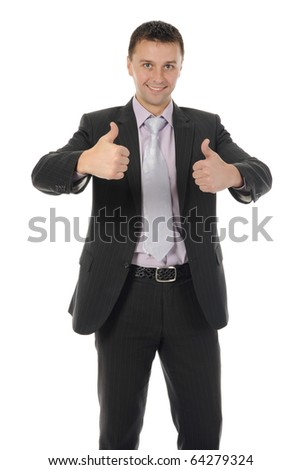 happy smiling businessman in a business suit. Isolated on white background - stock photo