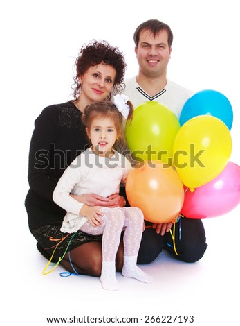 Happy young family with little daughter.- isolated on white background - stock photo