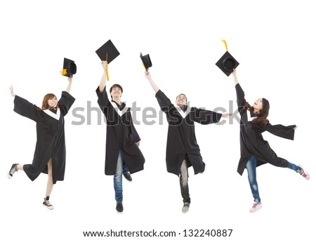 happy  young graduate students group - stock photo