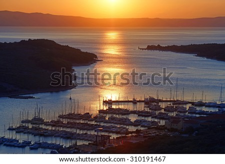 Harbour Sunset, Cres                                - stock photo