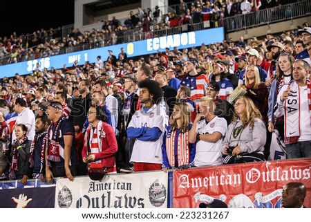 HARTFORD - OCTOBER 10:   Unidentified fans at U.S. Men`s International Friendly  vs Ecuador at Rentschler Field on October 10, 2014 in East Hartford, - stock photo