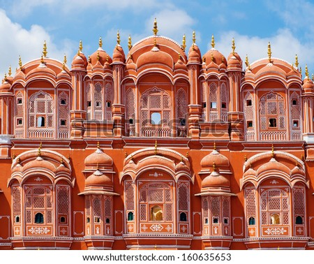 Hawa Mahal palace (Palace of the Winds) in Jaipur, Rajasthan , India - stock photo