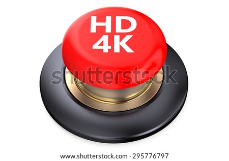 """""""HD 4K"""" red pushbutton  isolated on white background - stock photo"""