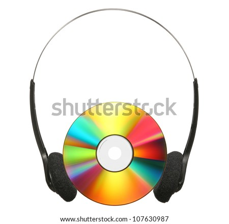 Headphones and CD isolated on a white background. - stock photo