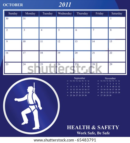 2011 Health and Safety calendar for the month of October - stock photo