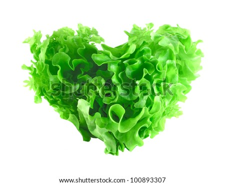 Heart shaped lettuce salad isolated on white background - stock photo