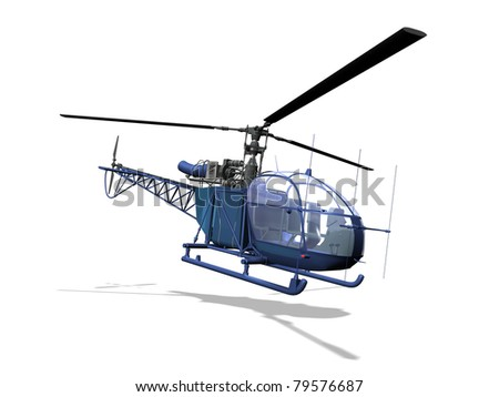 helicopter 3D, isolated white background - stock photo