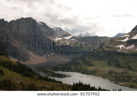 """Hidden Lake"" below Logan Pass, Glacier National Park, Wyoming - stock photo"