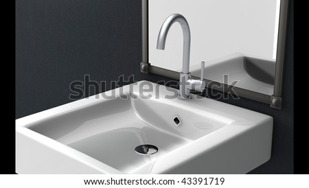 high arc spout faucet - stock photo