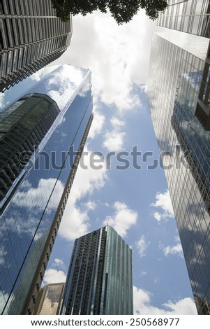 high-rise contemporary office buildings skyscrapers up rise modern office buildings - stock photo