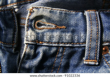 Hole button of jeans - stock photo