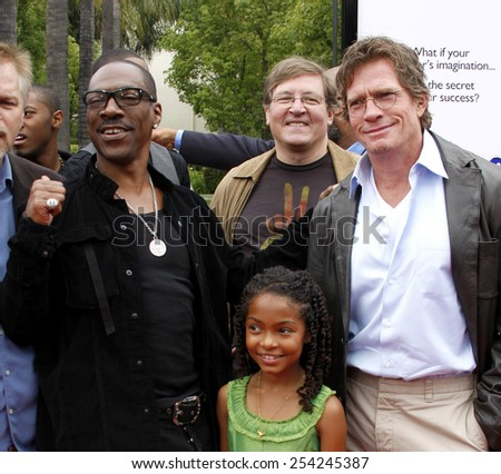 """6/6/2009 - Hollywood - Eddie Murphy, Yara Shahidi and Thomas Haden Church at the Los Angeles Premiere of """"Imagine That"""" held at the Paramount Studios Lot in Hollywood, United States.  - stock photo"""