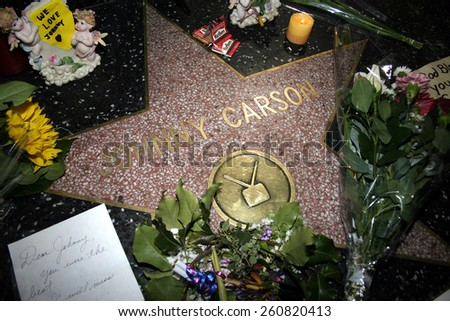 01/23/2005 - Hollywood - Johnny Carson's star on the Hollywood Walk of Fame in Hollywood. Carson died January 23, 2005, at age 79 of emphysema at his home in Malibu, California.  - stock photo